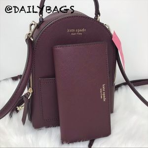 KATE SPADE MINI CONVERTIBLE BACKPACK CHERRY WALLET